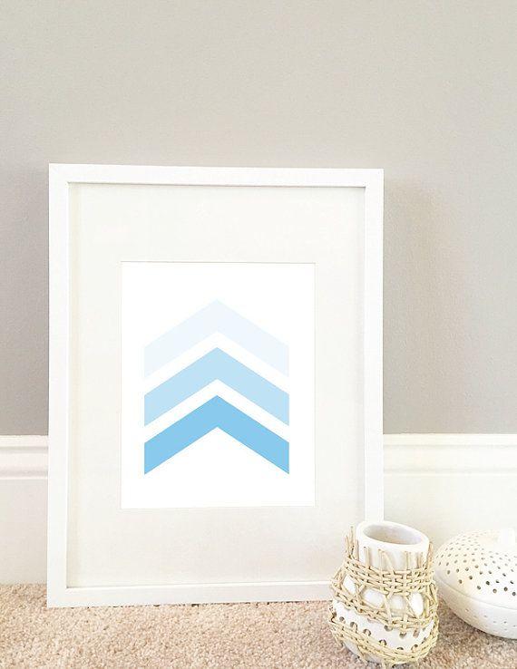 Baby Blue Chevron Gradient Digital Print by MiniMommaDesigns Minne