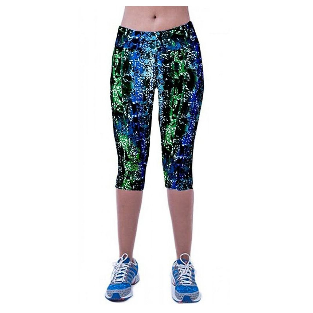 Vertiar Womens Stretchy Mermaid Fish Scale Capri Leggings for Yoga Running