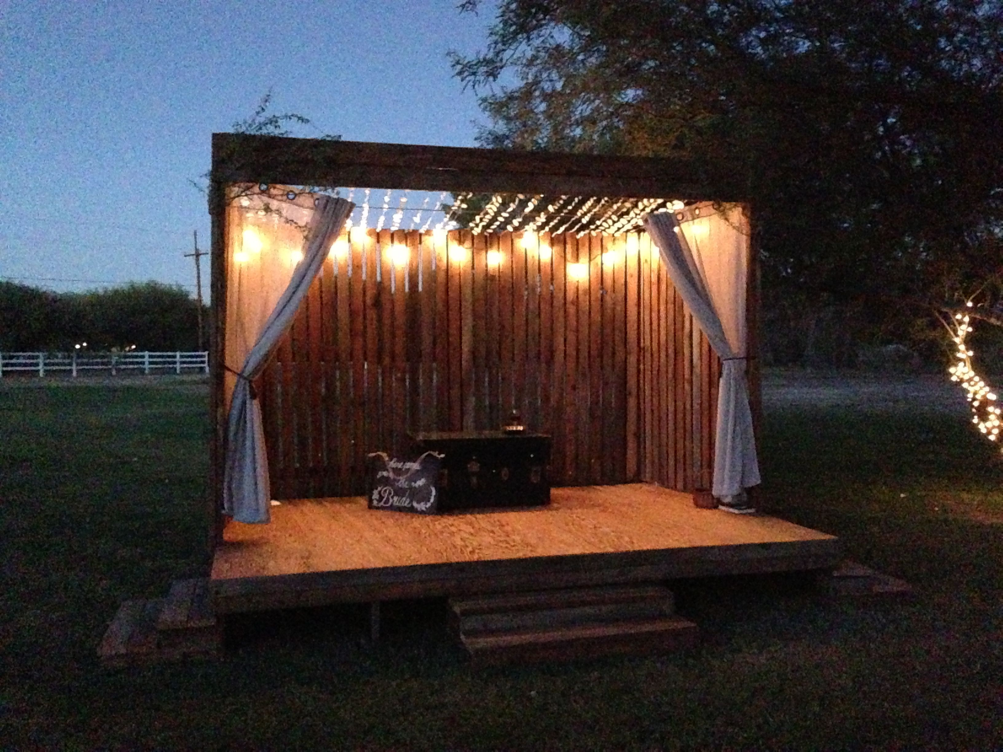 We built this stage for a friend's outdoor wedding