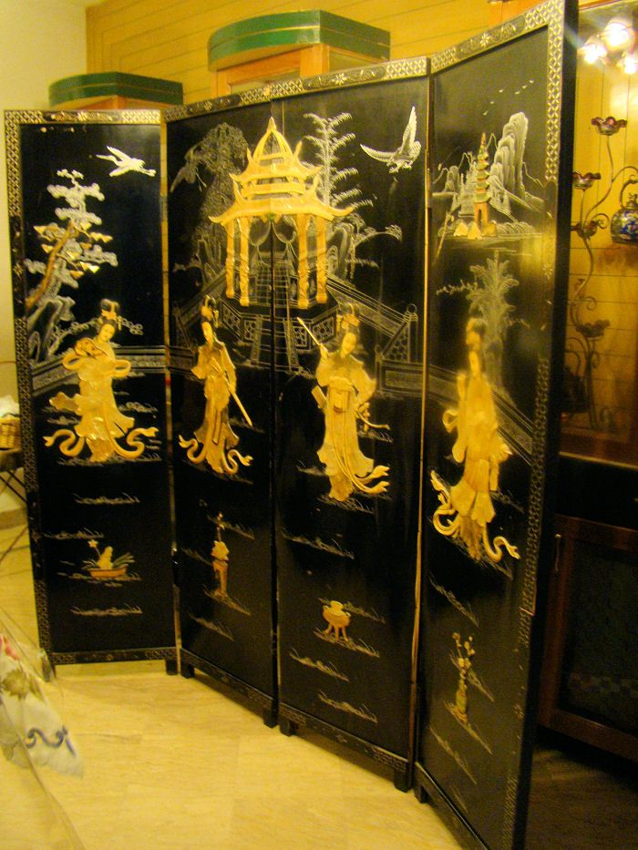 [2] Beautiful Antique Chinese 4 Panels Room-divider Screen