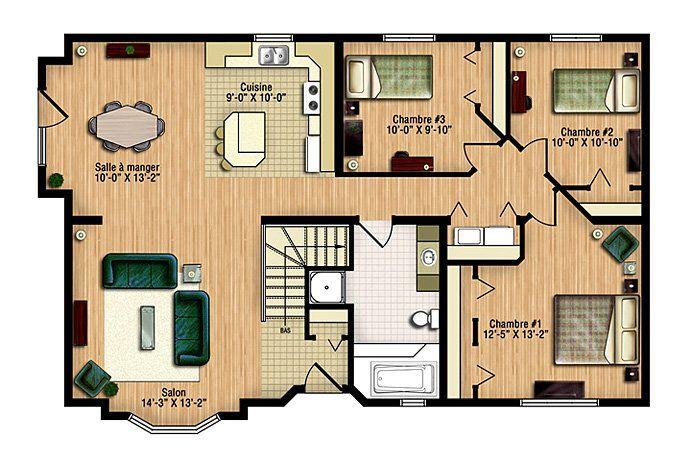 Maison neuve - Plain-pied, modèle Champêtre Plan de maison - plan maison une chambre