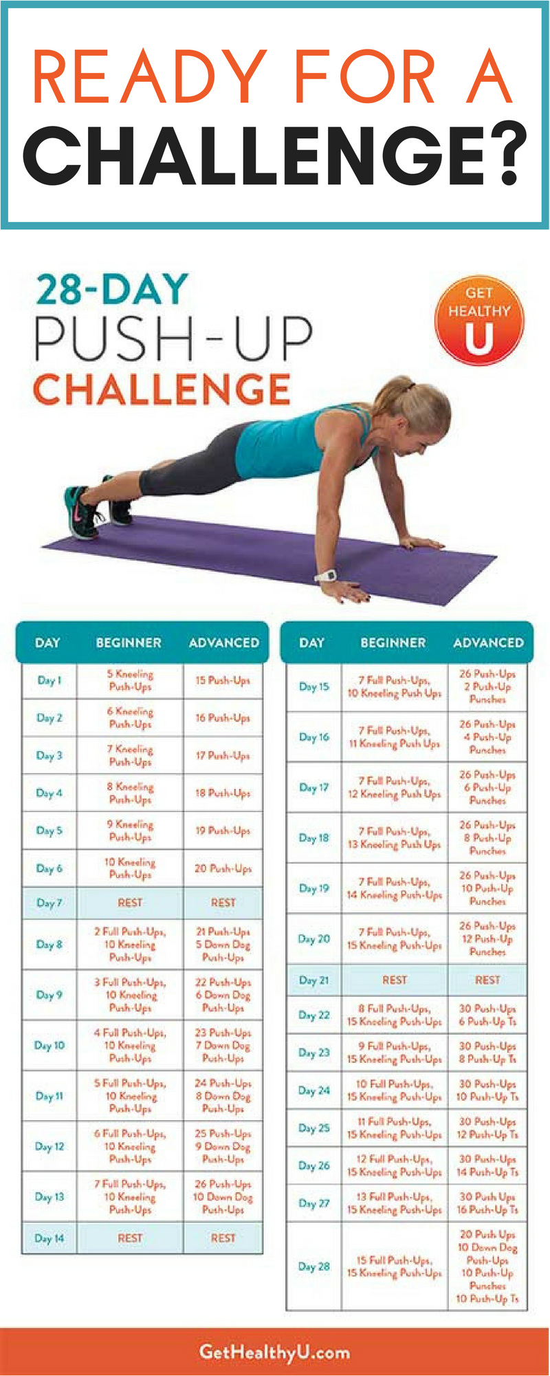 Push Up Your Way To A Perfect Chest Push Up Challenge Workout Challenge Month Workout Challenge