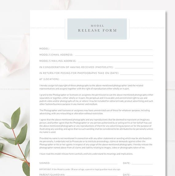 Photography Contract, Model Release Template, Permission Form
