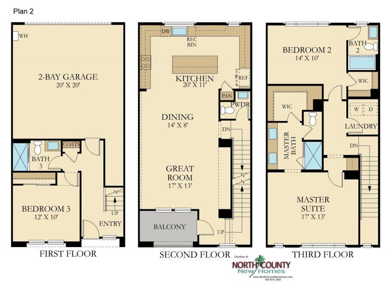 Avila New Townhomes In Vista North County New Homes Floor Plans House Floor Plans Apartment Floor Plans