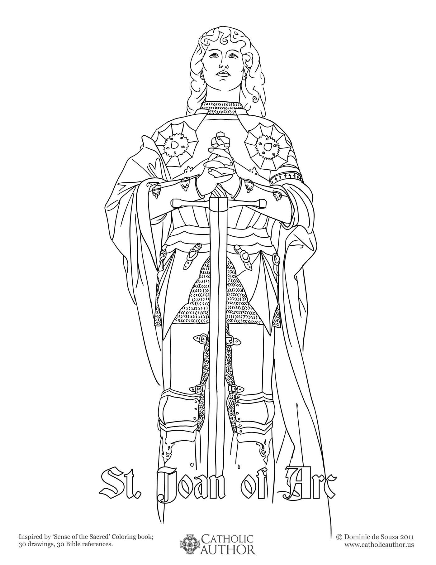 Free coloring pages virgin mary - St Joan Of Arc Free Hand Drawn Catholic Coloring Pictures
