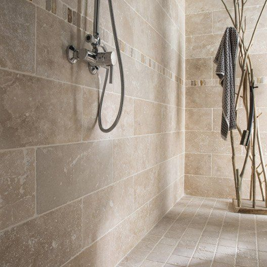 Listel travertin ethnic mix beige l 5 x l 30 5 cm travertin bathrooms pinterest ethnic for Mosaique travertin leroy merlin
