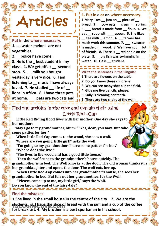 Articles Esl Articles Elementary Schools Articles Worksheet [ 1440 x 1018 Pixel ]