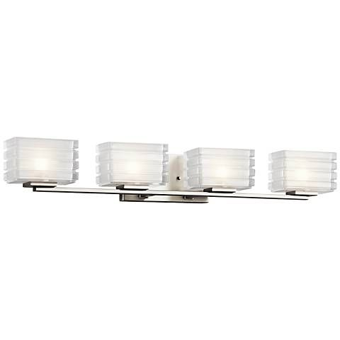 Photo of Kichler Bazely 33″ Wide High Mitered Glass Bath Light – #5R595 | Lamps Plus