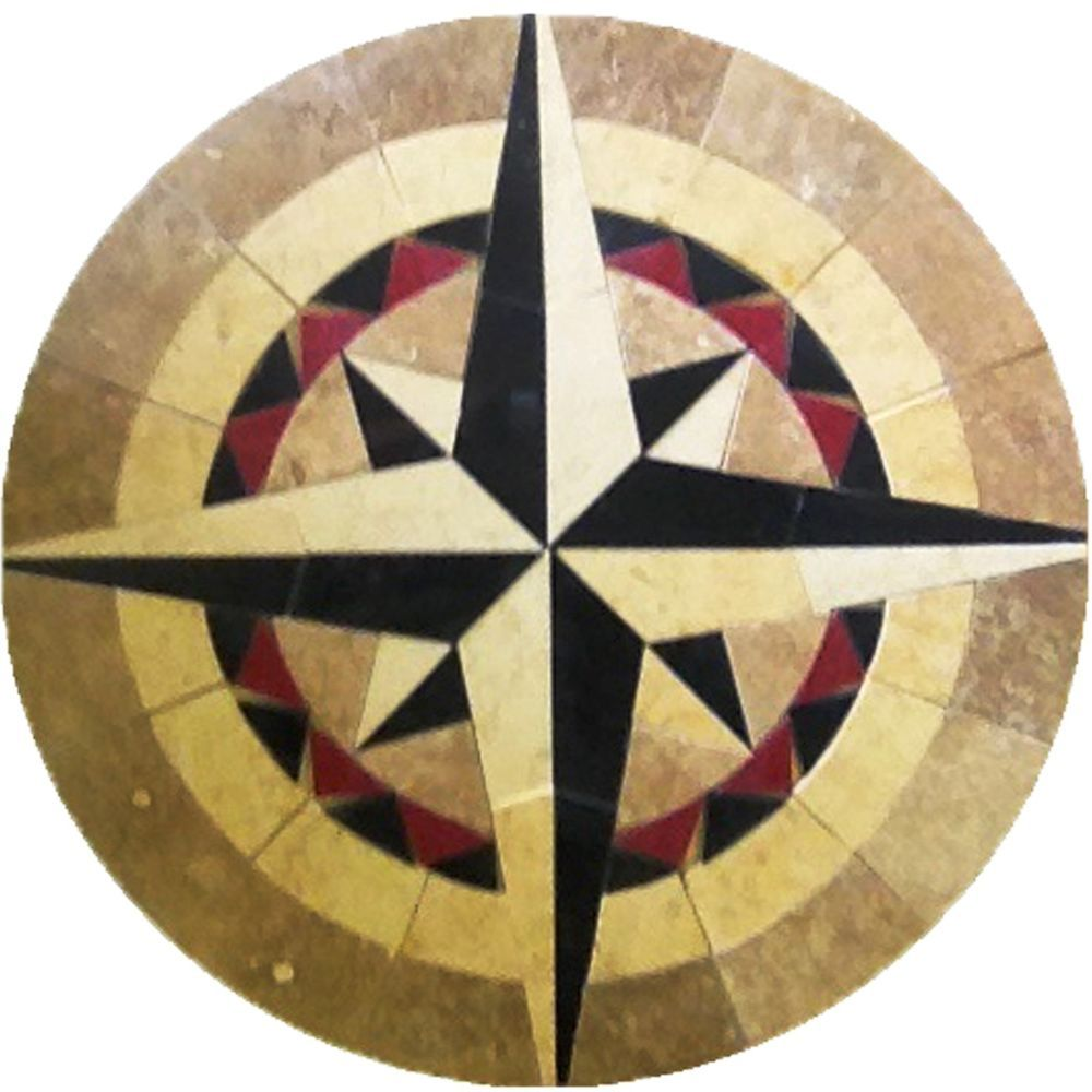 Compass Rose Floor Tile : Floor medallion marble mosaic nautical compass rose tile