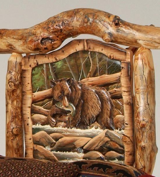 Burl Aspen Log Beds With Carved Panel Log Furniture