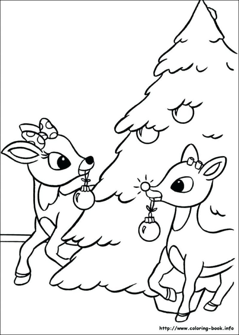 The Santa With Rudolph Giving Out Presents Coloring Pages Warna