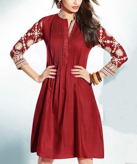 Dark Red Pin Tuck Pashmina-Blend A-Line Dress