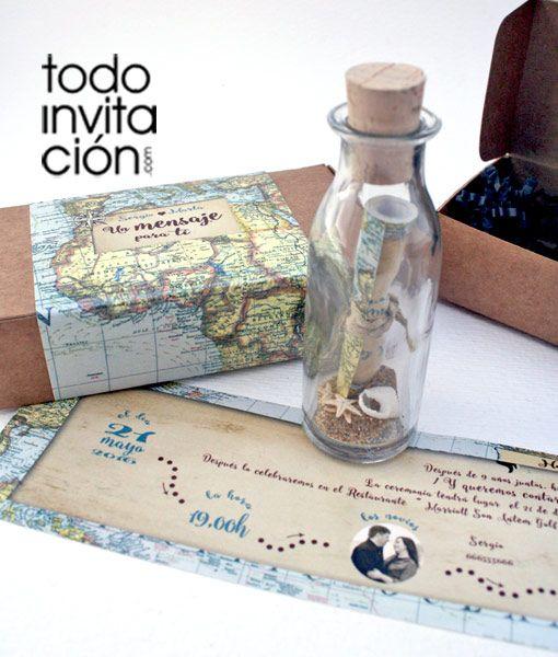Invitacion Mensaje En Botella Mapa En 2018 Aplicar Pinterest - Invitaciones-de-boda-en-botella