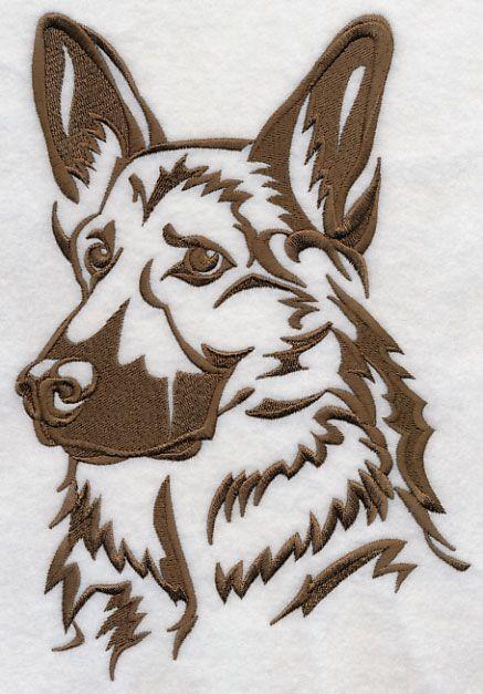 german shepherd silhouette  embroidery  animals