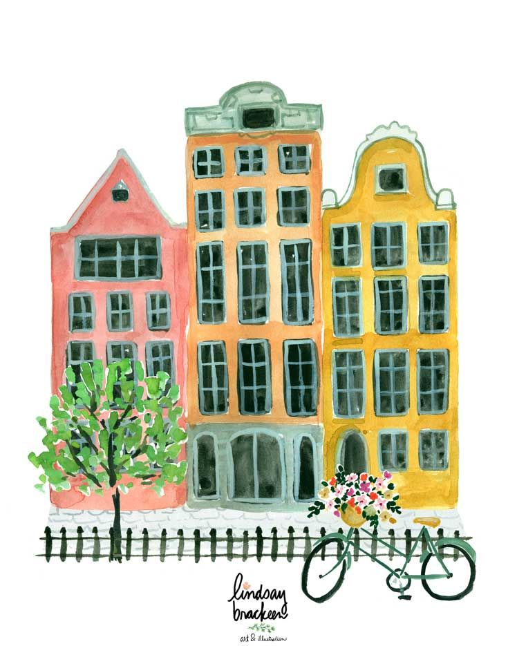 Amsterdam Netherlands Watercolor Print by Lindsay Brackeen