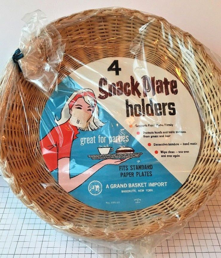 4 Vtg Bamboo Paper Plate Holders C&ing New In Package & 4 Vtg Bamboo Paper Plate Holders Camping New In Package   Plate holder