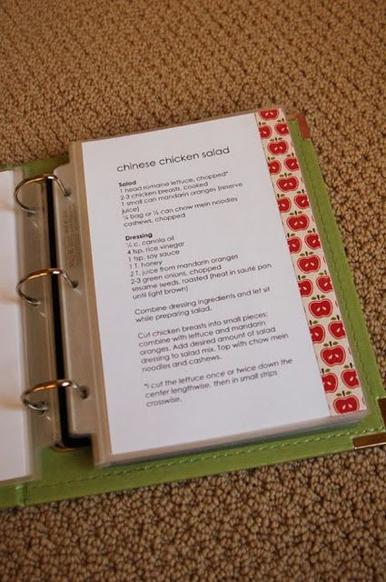 love this idea for making a recipe book! simple, but super cute