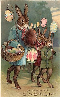 A Happy Easter German Postcard Rabbit Dressed For Easter Glitter