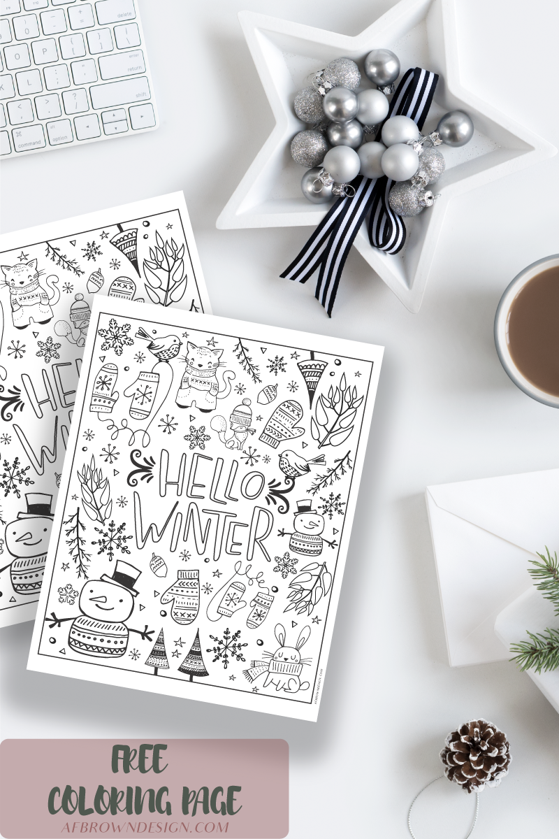Hello Winter Coloring Page - Free Download » Love & Light Design
