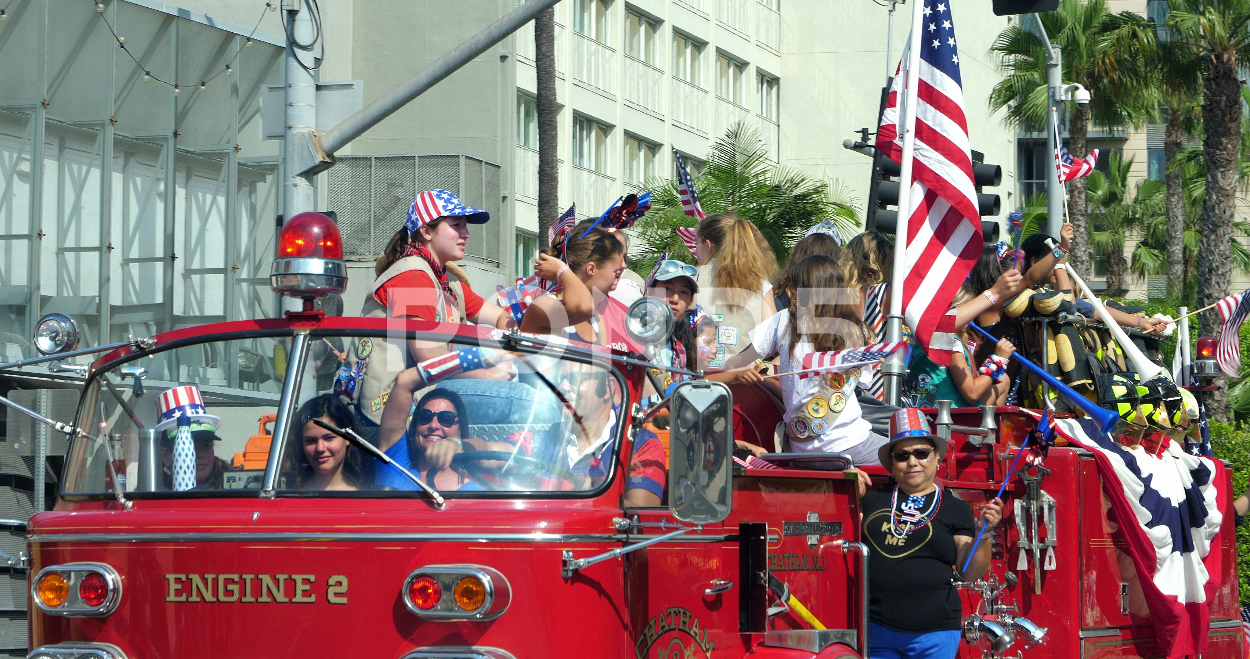 Los Angeles Fire Department Truck With People At 4 Of July Parade 4k Stock Footage Ad Depart Los Angeles Fire Department 4th Of July Parade Fire Department