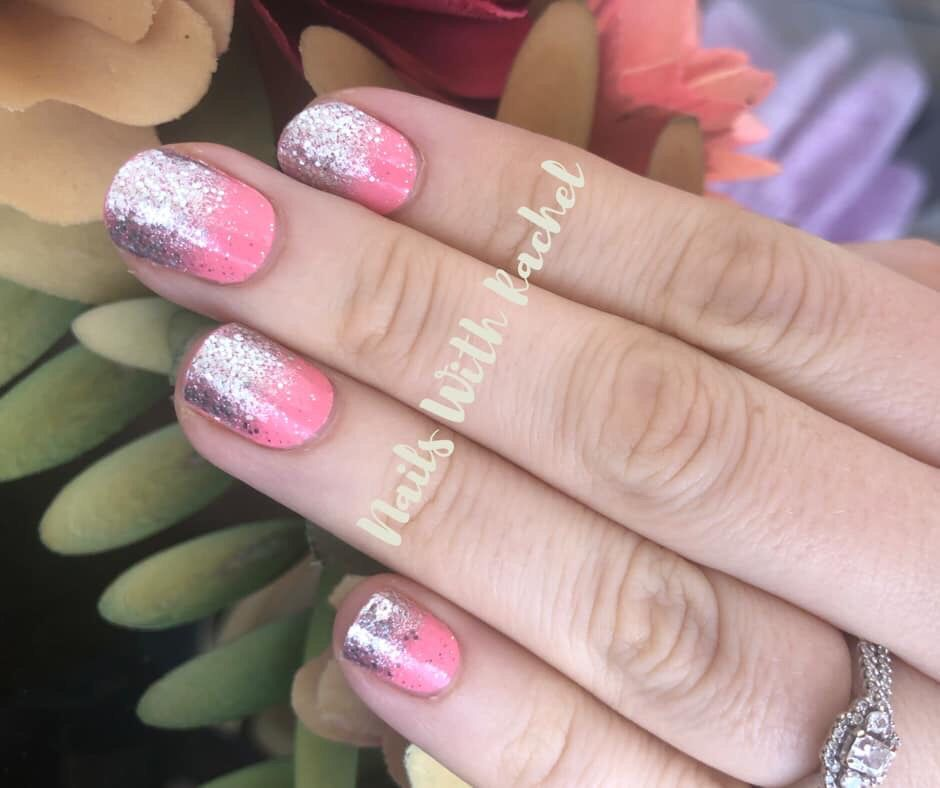 Gorgeous Coral Silver Glitter Nails Color Street Nails Color Street Silver Glitter Nails