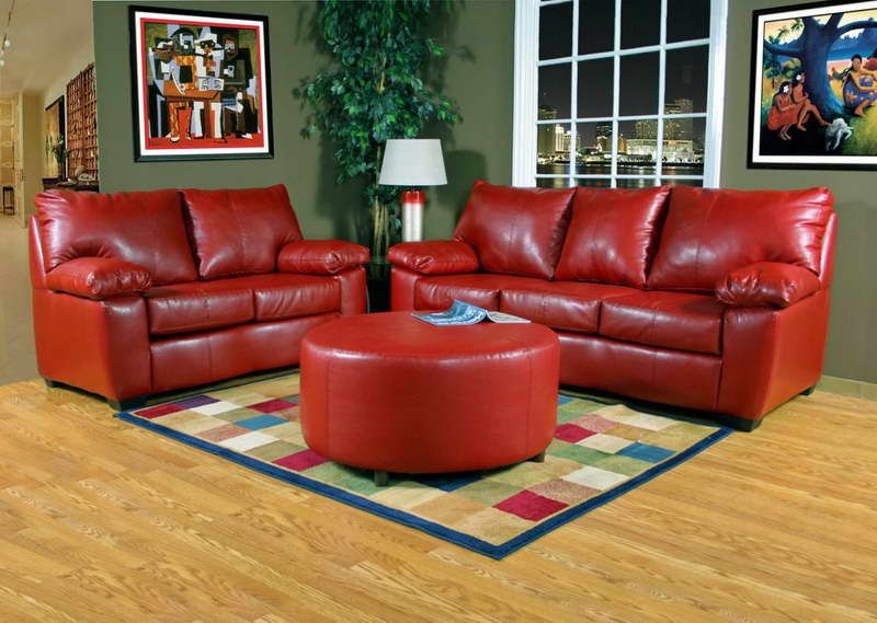 Bright Red Sofa With Green Walls Fortikur Leather Living Room