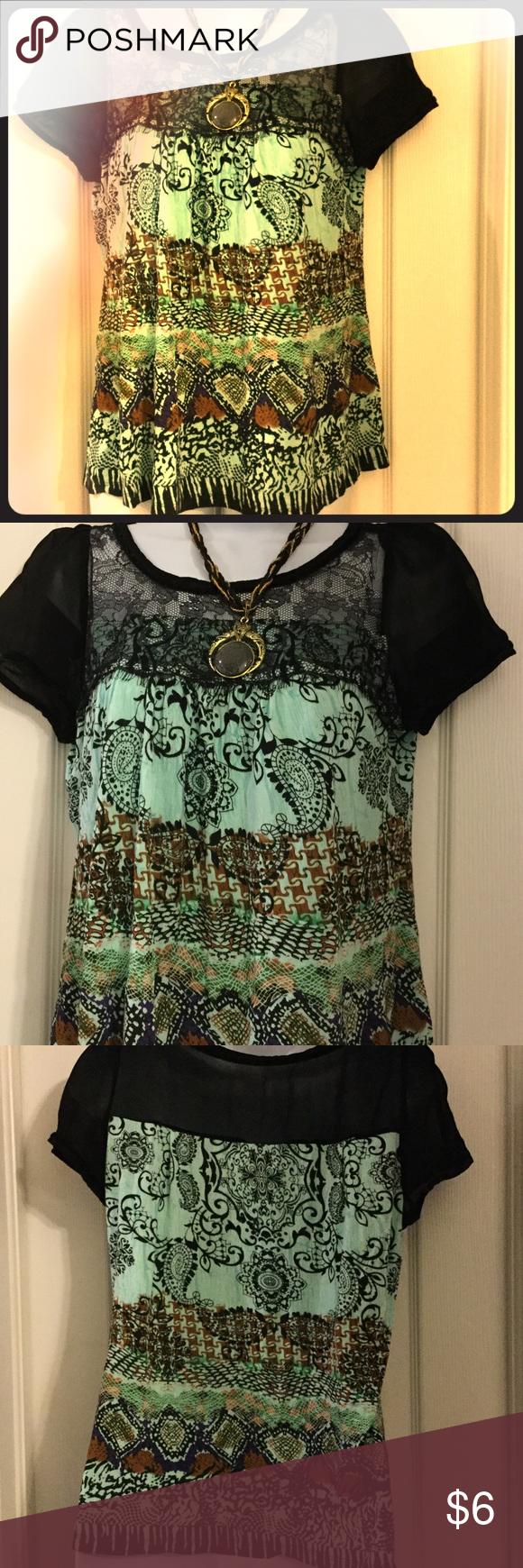 Bila blouse MP Black chiffon & lace design on top,100% rayon blouse Bila Tops Blouses