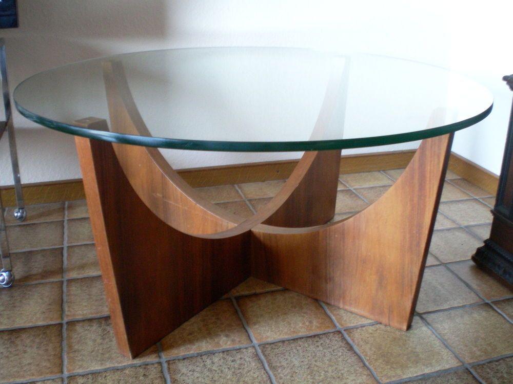 Danish Design Tisch 60er 70er Couchtischteak Holz Rund Wohnzimmer Glastisch Design Tisch Glastische Tisch