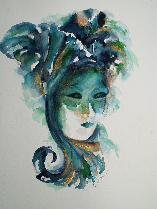 Venice Carnival painting Aquamarine color painting absract Portrait painting woman Original venetian masks oil painting artwork