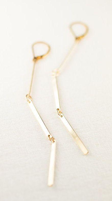 e63cf26c2 Ke'alohi earrings gold bar earring long gold | Handmade earring ...