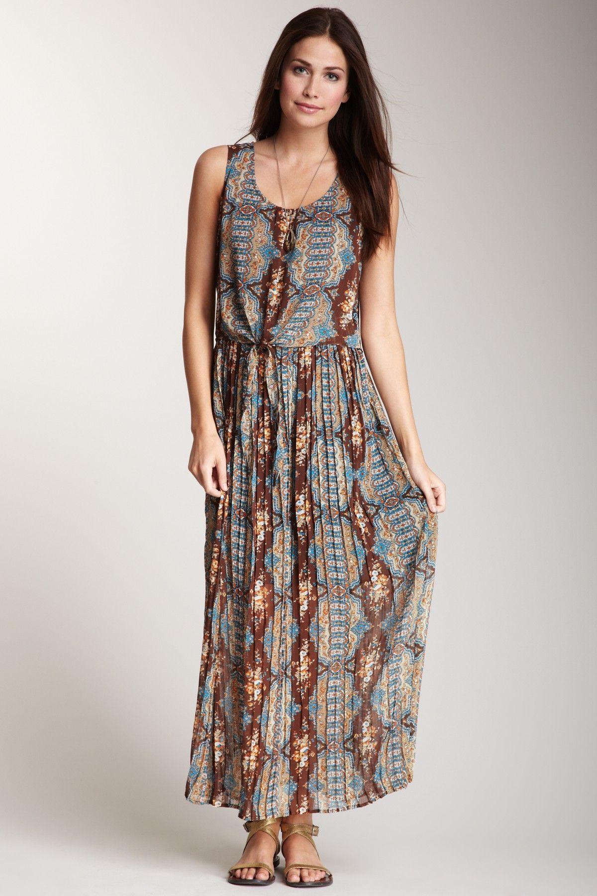 ebb2030e22c Blu Pepper Sleeveless Waist Tie Print Maxi Dress