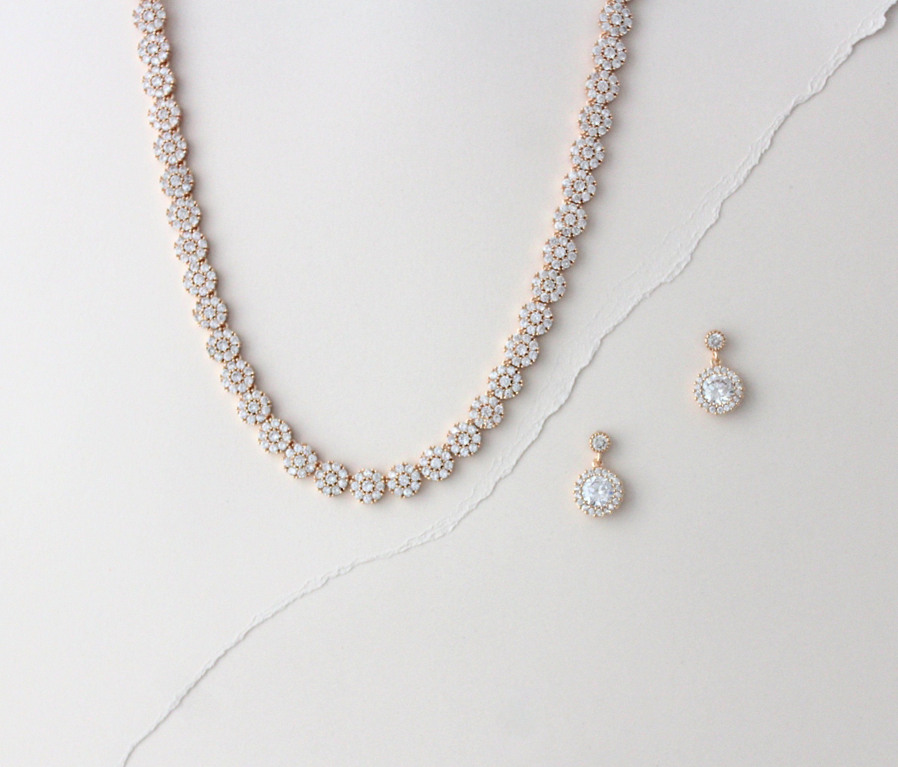 Dainty Rose Gold Bridal Necklace Rose Gold Bridal Jewelry Etsy In 2021 Gold Bridal Necklace Rose Gold Drop Earrings Wedding Necklace Set