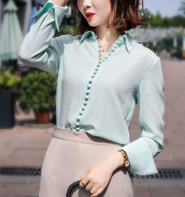 Blue Silk Shirt Kim Mi So KFashion at Fashionchingu