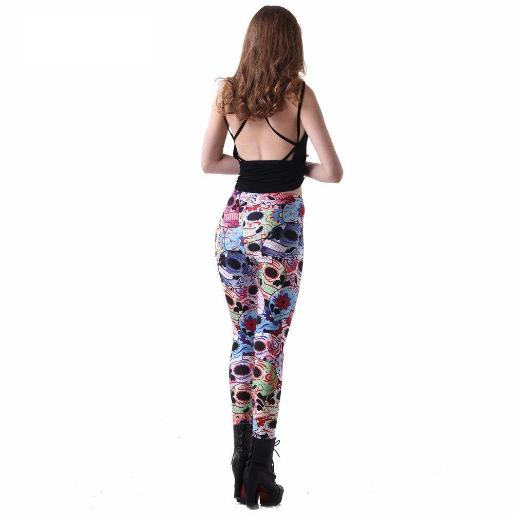 best digital print day of the dead leggings best plus size