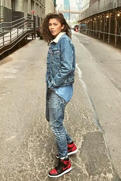 0f0875d8b81509 Zendaya Coleman wearing Levi s Sherpa Trucker Jacket and Nike Air Jordan  Sneakers