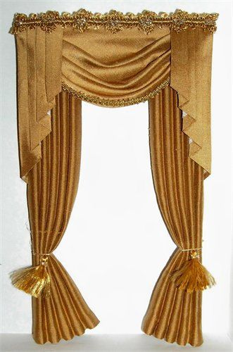 Dollhouse Miniature Gold Silk Victorian Curtains Drapes 5012. $24.00, via  Etsy.