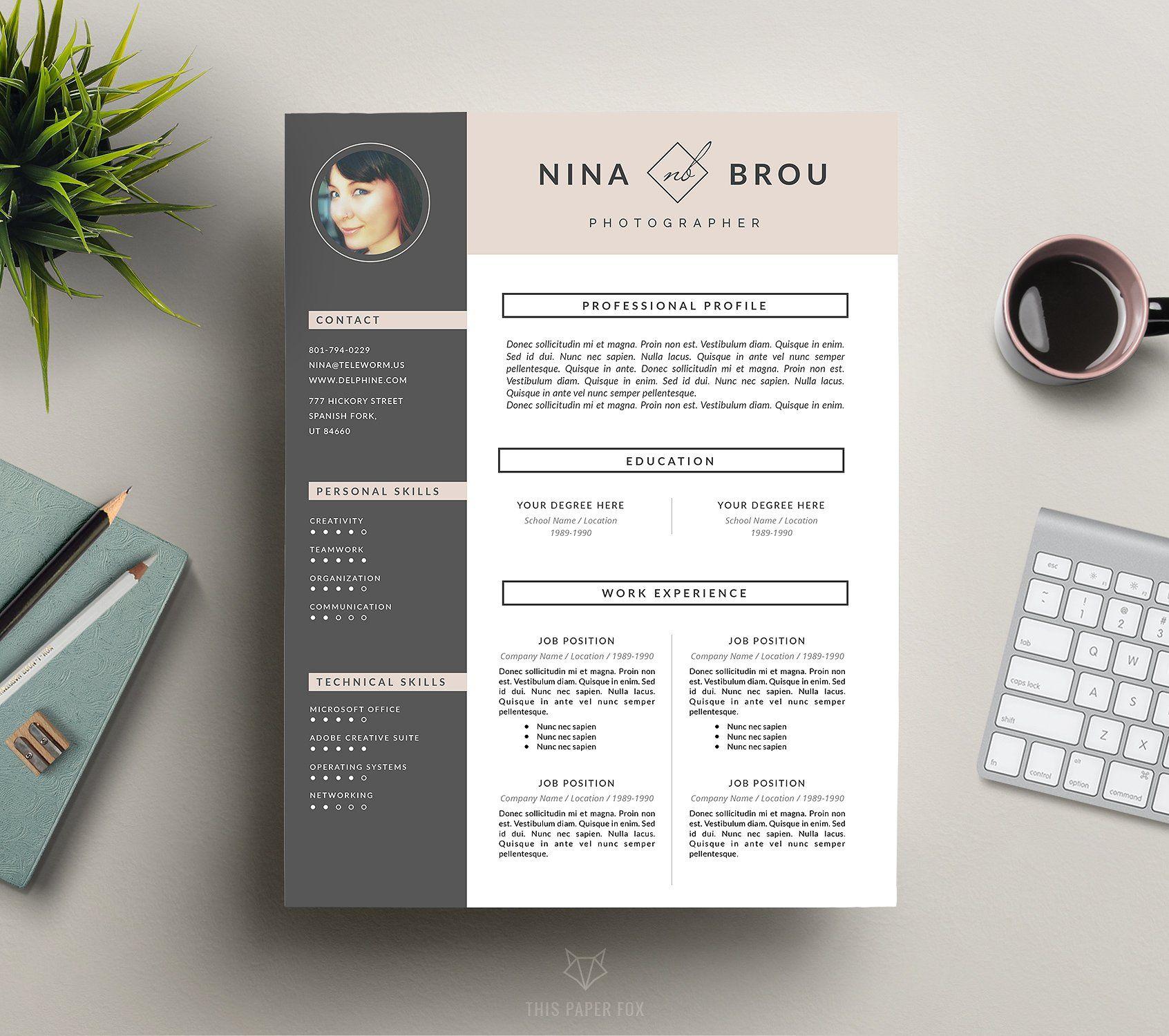 Feminine Resume Design | CV | Design resume, Resume cv and Brochures