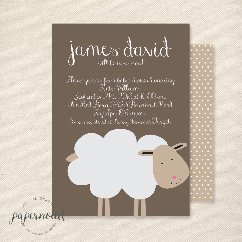 Sheep Baby Shower Invitation // Baby Shower Invitaiton // Sheep ...