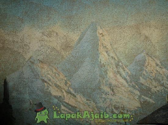 Lukisan Kuno Eropa Pemandangan Gunung Salju Pemandangan Painting Salju
