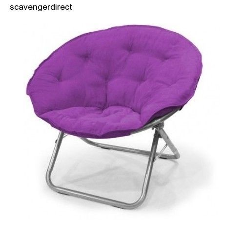 Moon Saucer Chair High End Folding Lawn Chairs Purple Circle Round Bedroom Dorm Kid Teen Plush Girl Modern