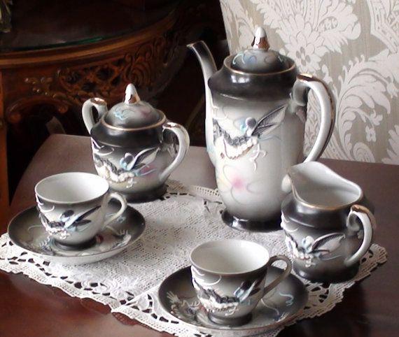 Moriage Dragonware Tea Set Demitasse Japan Dragon Mottif