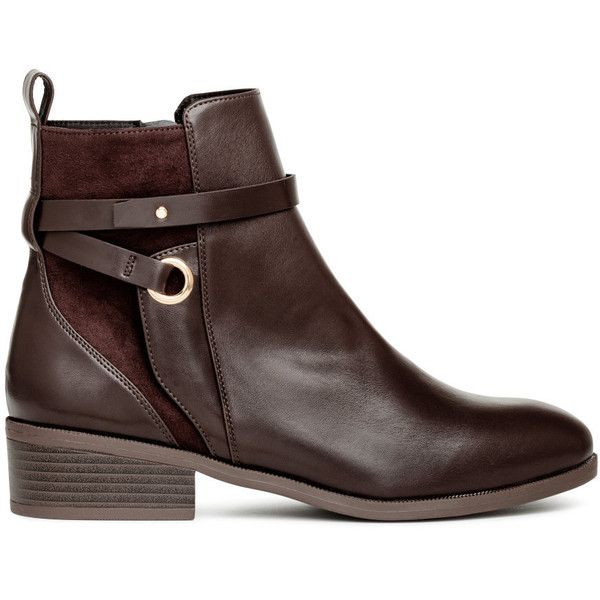 H M Boots Mit Riemen 29 99 565 Liked On Polyvore Featuring Shoes Boots H M Boots And H M Shoes Boots Brown Leather Boots Womens H M Boots