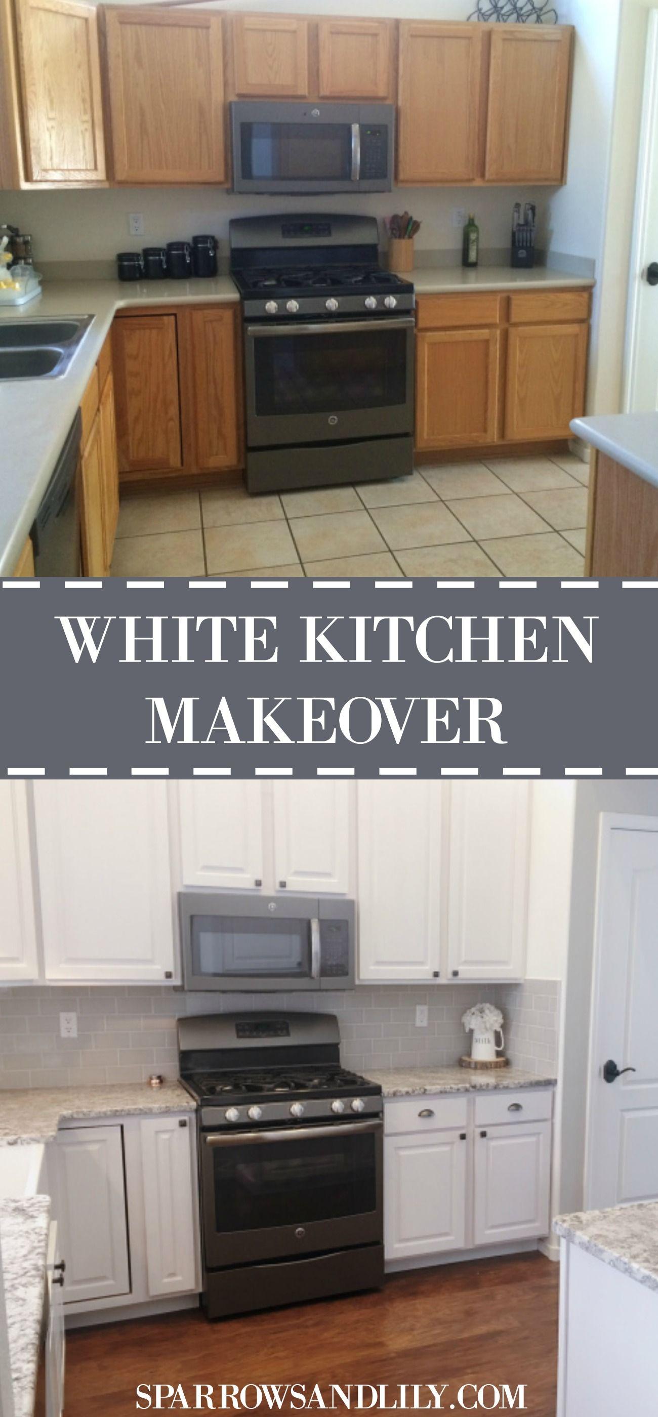 A Bright White Kitchen Makeover White Kitchen Makeover Refacing Kitchen Cabinets Kitchen Remodel Countertops