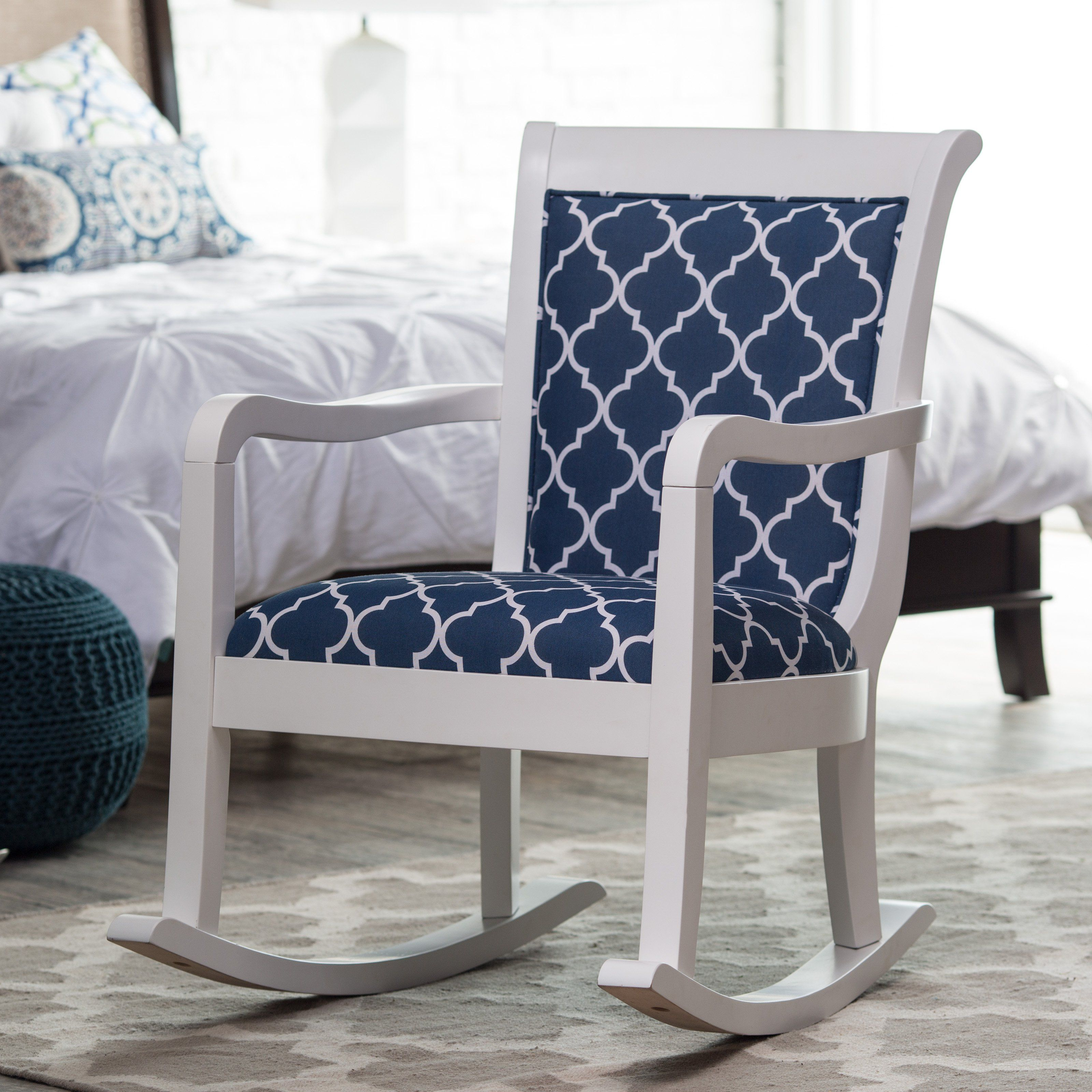Belham Living Blue Quatrefoil Rocking Chair The Belham Living