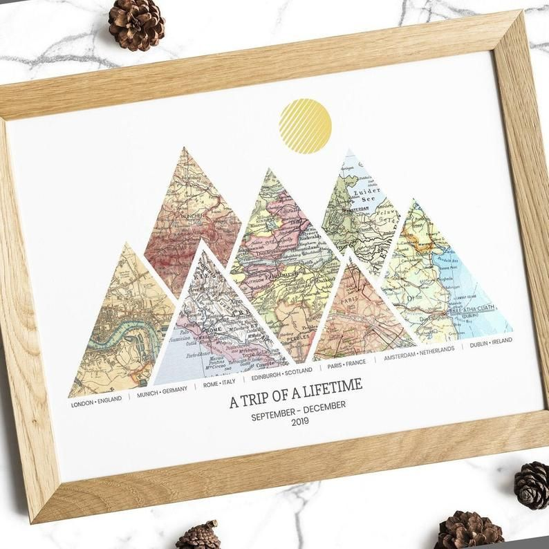 Personalized Adventure Map Print 3 8 Locations Mountain Wall Etsy In 2021 Map Print Map Art Print Custom Wall Art