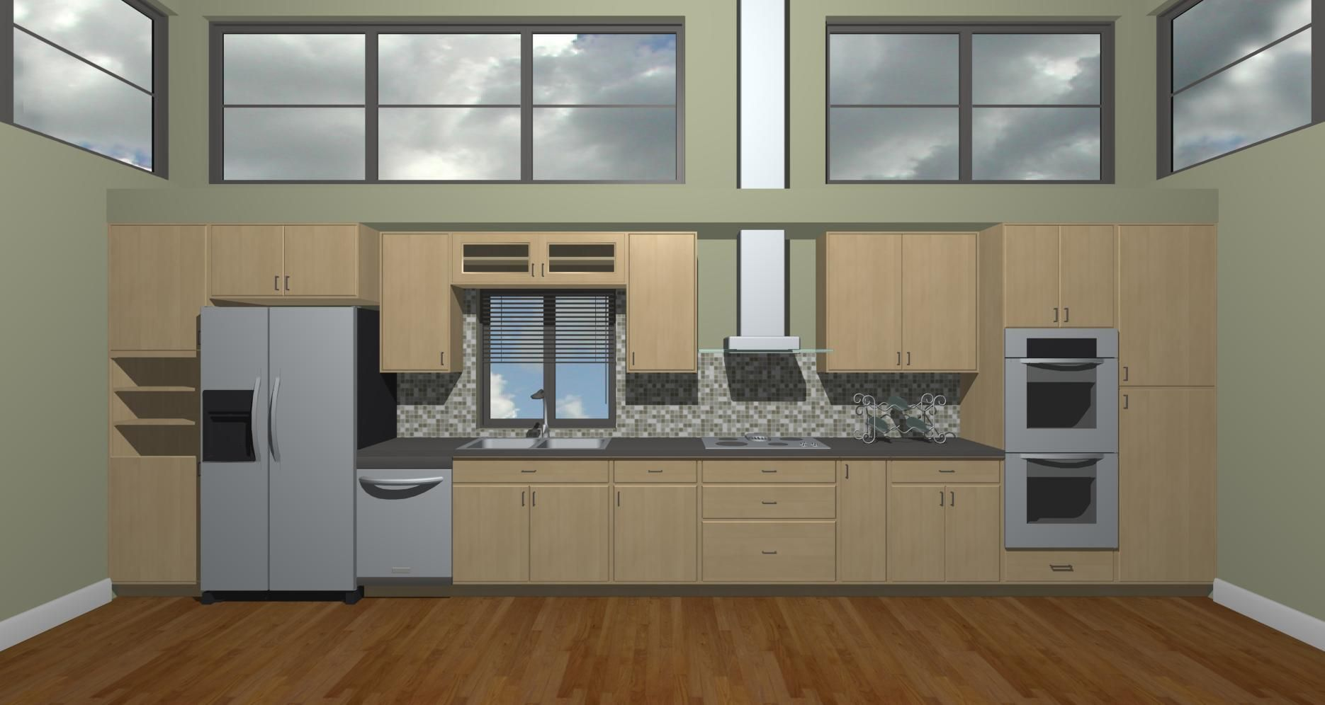 Straight Line Kitchen  layout?? Hmmm  For the Home  Pinterest