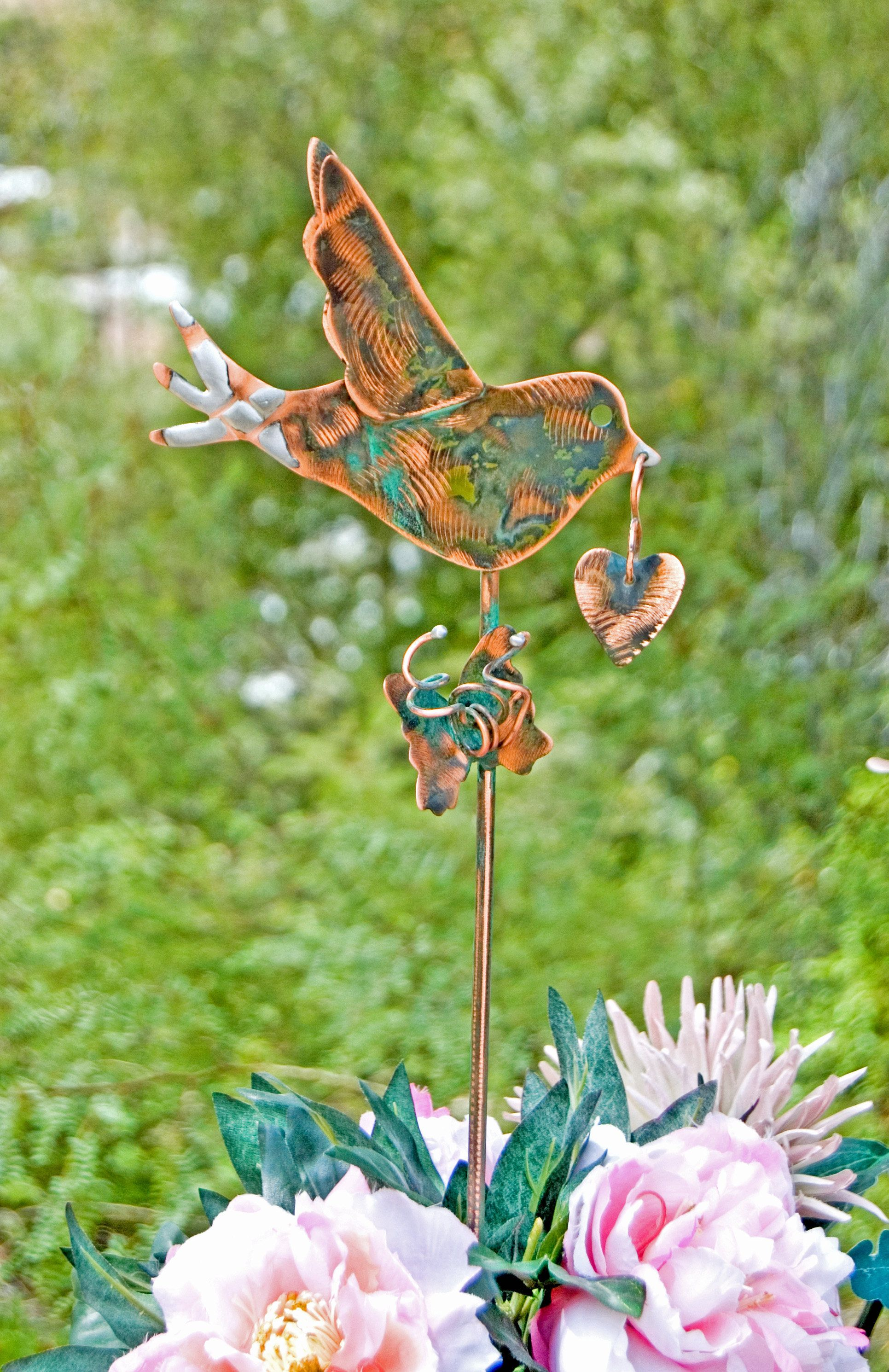 Bird nature outdoor metal garden sculpture yard art plant