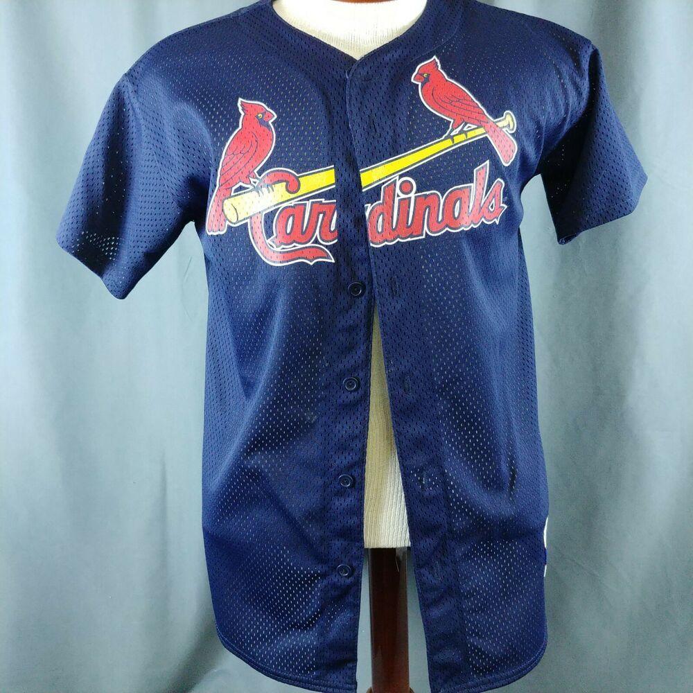 online store 38202 a5e21 Navy Blue Saint Louis Cardinals MLB Red Bird Jersey Made in