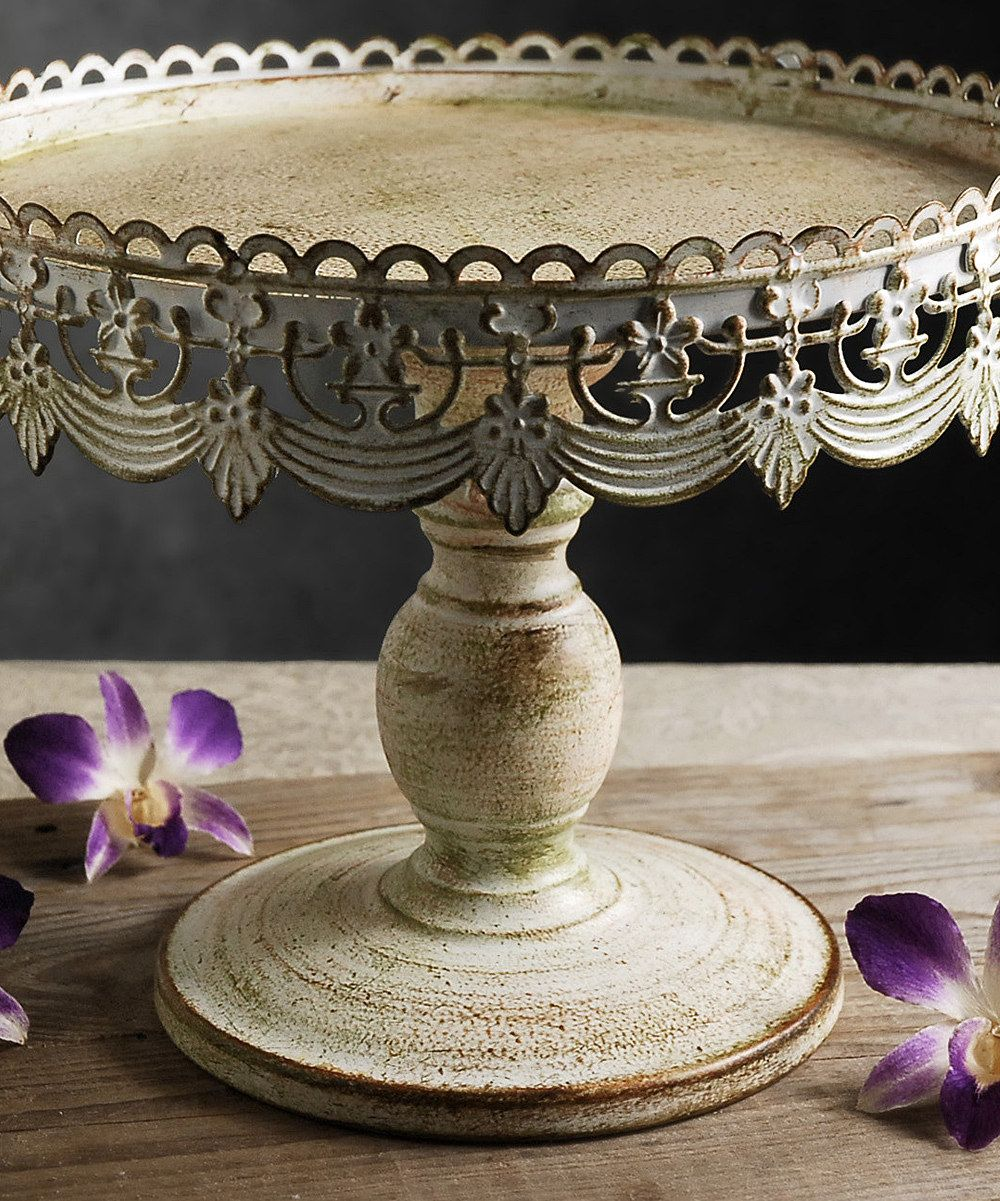 Distressed White Cake Stand