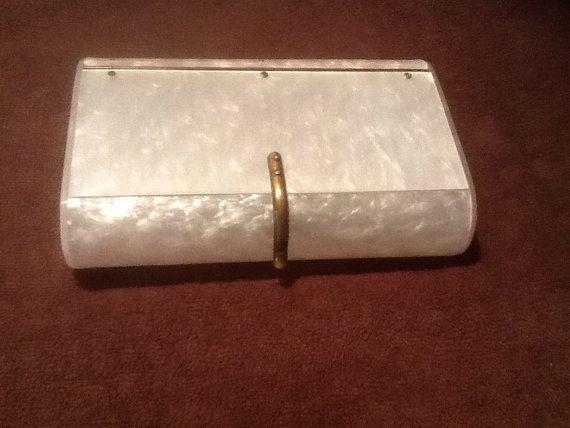 Maxim Lucite Box Purse White Pearl